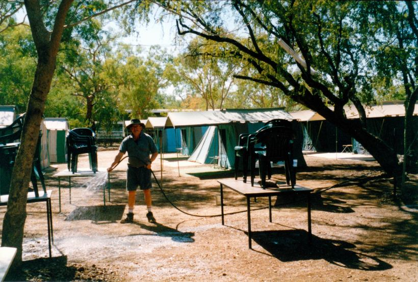 Resize of 07-30-2002 01 John cleaning the dining area Adels.jpg