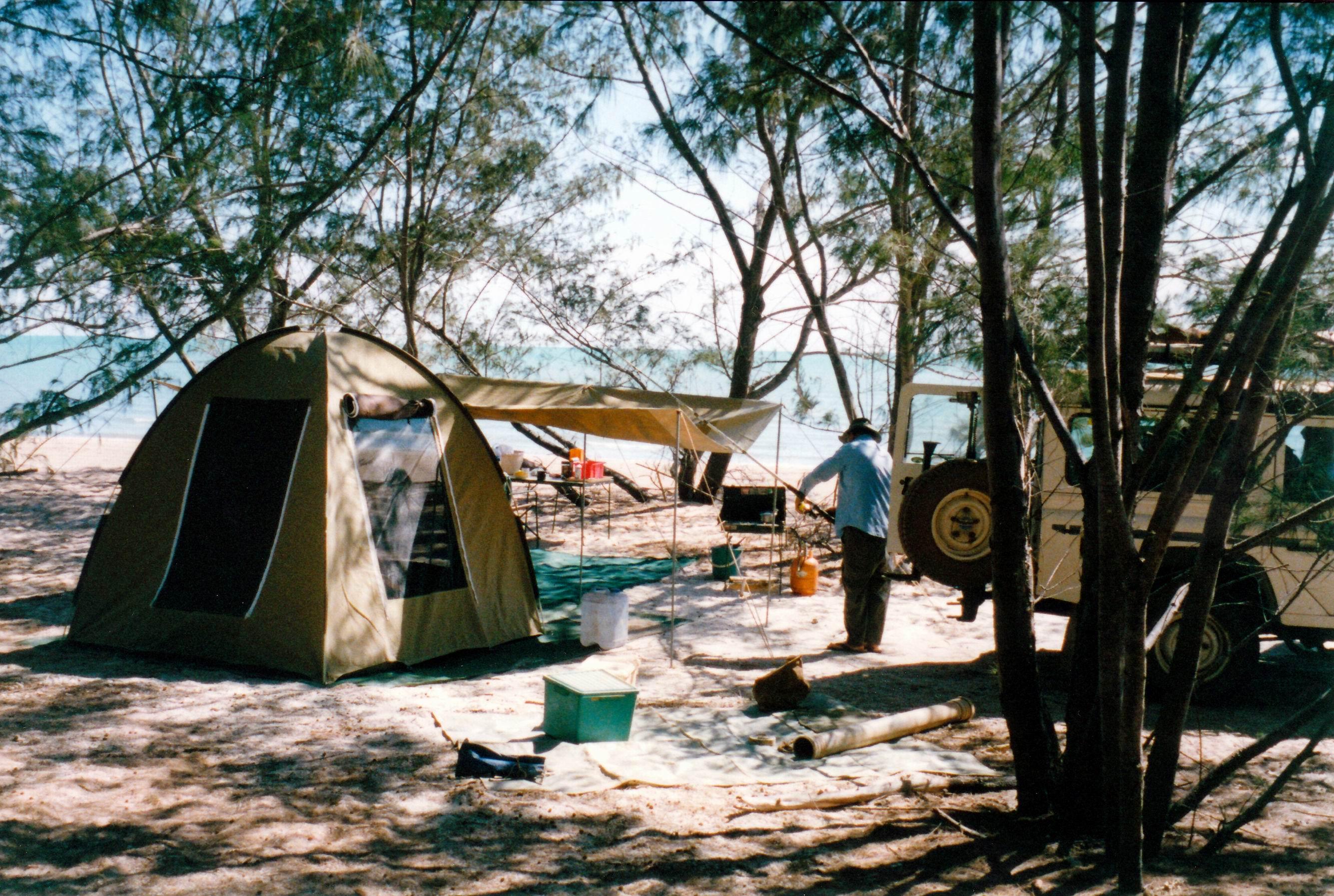 Resize of 08-24-2002 01our camp at Wollogorang beach.jpg