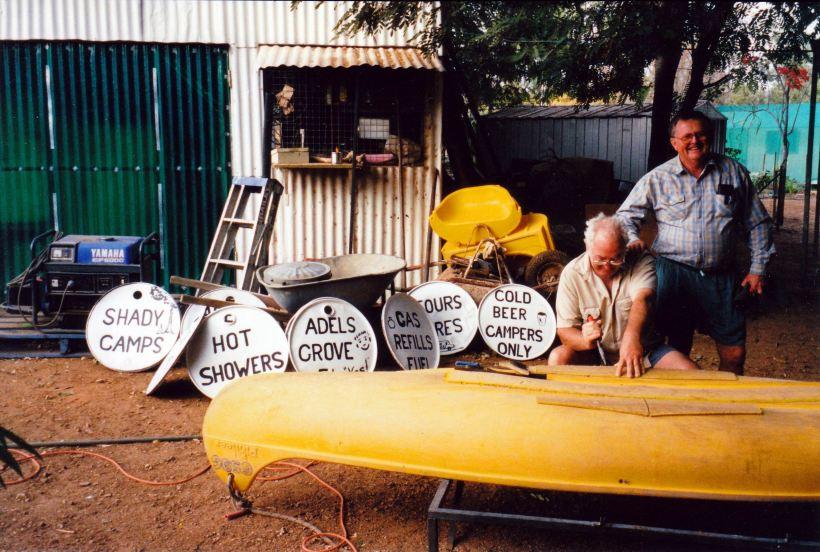 Resize of 08-07-2003 01 John's signs, Fred repairing canoe.jpg
